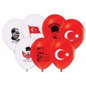 100 Adet Atatürk Baskılı Balon + Balon Pompası