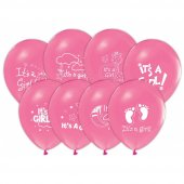 100 Adet Its A Girl Baskılı Pastel Balon + Balon Pompası