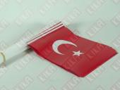 50 Ad. Sopalı (Plastikçıtalı) Türk Bayrağı 22 Cm X 32 Cm