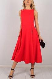 Sıfır Kol Kırmızı Bayan Elbise 6541b