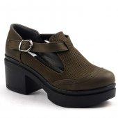 Ayakland 502 Günlük 6cm Kalın Topuk Bayan Desenli Ayakkabı