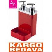 Viva Süngerli Sıvı Sabunluk Kırmızı M E10 04