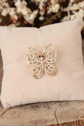 Zirkon Taşlı Kelebek Figürlü Broş