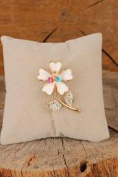 Zirkon Taşlı Çiçek Figürlü Broş