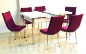 Taytüyü Kumaş 6 Kişilik Açılır Mutfak Masası Bank Takımı