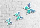 üçlü Beyaz Mavi Kelebek Duvar Süsü Dekoratif Duvar Obje