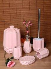 6 Parça Mozaik Banyo Seti Porselen Çöp Kovalı Pembe