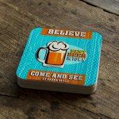 Kişiye Özel Beer Tasarımlı Retro Ahşap Bardak Altlığı 7