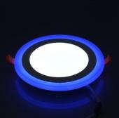 6 Watt Çift Renkli Led Panel Yuvarlak Spot Lamba Armatürü Mavi Beyaz