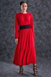 Eda Atalay Bohem Elbise Kırmızı 4908 34