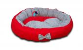 Lepus Papyonlu Lüx Yuvarlak Kedi Köpek Yatağı 59 Cm Kırmızı