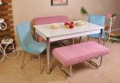 Taytüyü Kumaş Banklı Mutfak Masası 6 Kişilik Yemek Masası