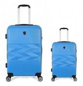 U.s. Polo Assn. Büyük Ve Kabin Boy Valiz Seti Mavi 8045