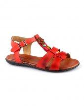 Kırımızı Renk Boncuk Detaylı Bayan Sandalet