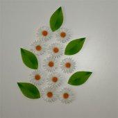 Beyaz Papatya Ve Yaprak Desenli Keçe Aplike (Dk 99 D)