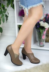 Sibilla Koyu Vizon Cilt Topuklu Bayan Ayakkabı