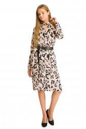 Bej Yaka Detaylı Emprime Elbise 19k0160540