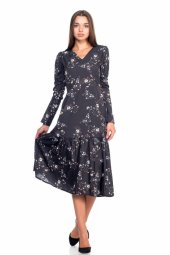 Siyah Çiçek Desenli Elbise 19k0160553