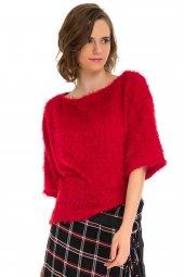 Kırmızı Geniş Form Peluş Triko 19k0116274