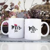 Kişiye Özel İsimli Mr. Mrs. 2 Li Kupa Bardak