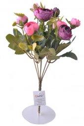 6 Dallı 28 Cm Şakayık Gül Yapay Çiçek Pembe Mor Ck011pm