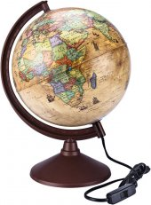 Brons Antik Dünya Küre Siyasi Ve Fiziki 26cm