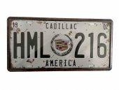 America Cadillac Temalı 15x30 Cm Metal Plaka Metal Tablo