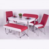 Kırmızı Beyaz Mutfak Yemek Takımı Masa Sandalye Deri Bank Tk 5 Pa