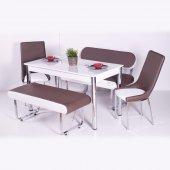 Kahverengi Beyaz Masa Sandalye Bank Takımı Mutfak Yemek Odası Der