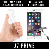 Samsung J7 Prime Ultra İnce Şeffaf Silikon Kılıf + Temperli Cam