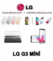 Lg G3 Mini Ultra İnce Şeffaf Silikon Kılıf + Temperli Cam