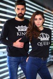King Queen Siyah Sweatshirt Sevgili Kombini