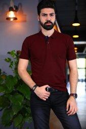 Bordo Polo Yaka Tshirt Kısa Kollu Tişört Basic T Shirt