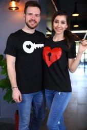 Sevgili Kombini Kalp Anahtar Tshirt Sevgiliye Hediye Tişört