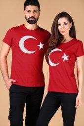 Ay Yıldız Sevgili Kombini Kırmızı Tshirt Yarım Kol Tişört