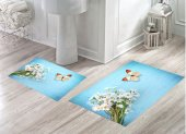 Bh 1742 Beyaz Çiçekler Kelebekli Mavi 3d Banyo Paspas Takımı