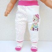 Pembe Puanlı Valizli Ayıcık Kendinden Çoraplı Kız Bebek Tek Alt