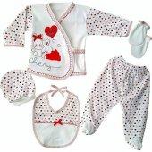 Chery Kırmızı Kalpli Tavşan 5 Parça Hastane Çıkış Seti