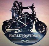 Dekoratif Ahşap Duvar Saati Harley Davidson