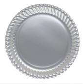 8 Adet Gri Gümüş Plastik Tabak Doğum Günü Parti Tabağı