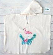 %100 Ham Pamuk Flamingo Baskılı Banyo Deniz Havuz Pançosu Kapüşonlu