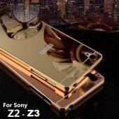 Sony Xperia Z2 Z3 M4 Aqua Kılıf Aynalı Metal Çerçeve Bumper