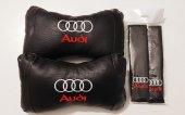 Audi Lüks Papyon Deri Boyun Yastık Ve Deri Kemer K...