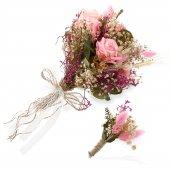 Gelin Buketi Pembe El Çiçeği Ve Damat Yaka Çiçeği