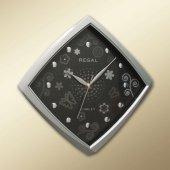 0434 Sb Basamaklı Köşeli Çiçekli Kadran Duvar Saatı