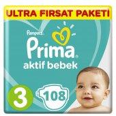 Prima Aktif Bebek 3 Beden Bebek Bezi Süper Fırsat Paketi 108 Adet