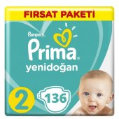 Prima Aktif Bebek 2 Beden Bebek Bezi Fırsat Paketi,136 Adet