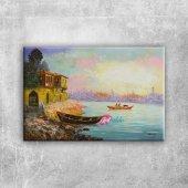 Sahildeki Renkli Kayıklar, Deniz 7 Dekoratif Kanvas Tablo
