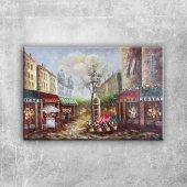 Restaurant Paris, Sokak Manzarası 3 Dekoratif Kanvas Tablo