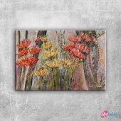 Kırmızı Çiçekler 1 Dalya Çiçeği Floral Sanat Kanva...